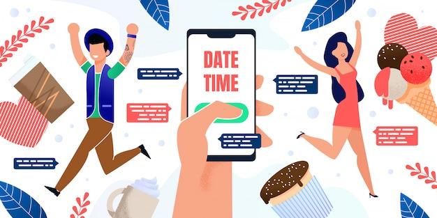 スマートフォンフラットポスターのデートアプリの使用