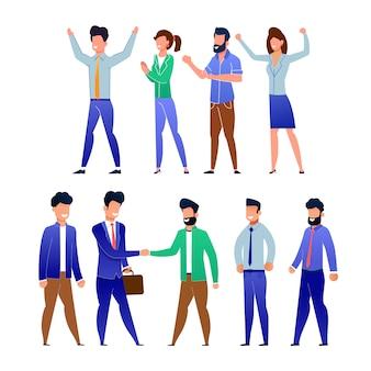 フラット笑顔のオフィスの人々の群衆漫画セット