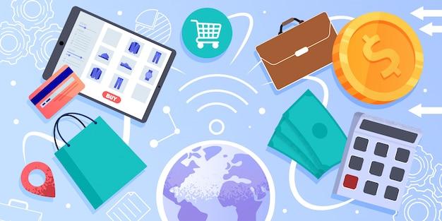インターネット商取引、オンラインショッピングのベクトルの概念