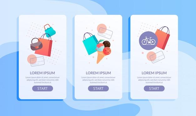 オンラインショッピングモバイルアプリケーションページフラットセット