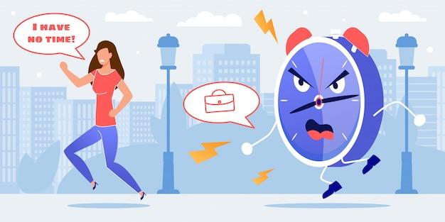 Подчеркнутая женщина бежит из огромного будильника