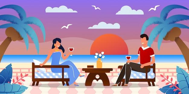 熱帯の島の海辺でロマンチックなデート
