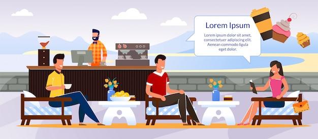 人々のキャラクターは屋外カフェ漫画で休みます