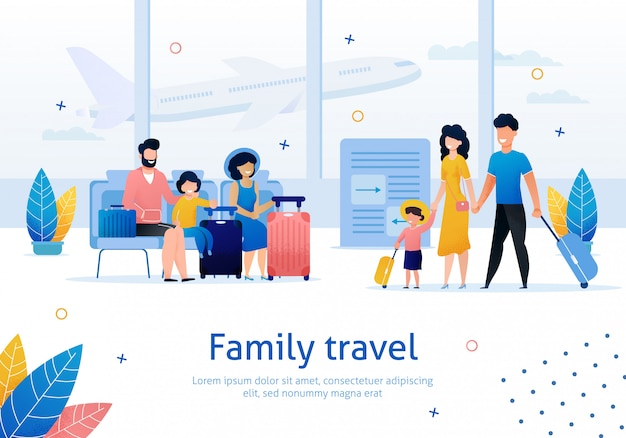Семейное путешествие плоский баннер