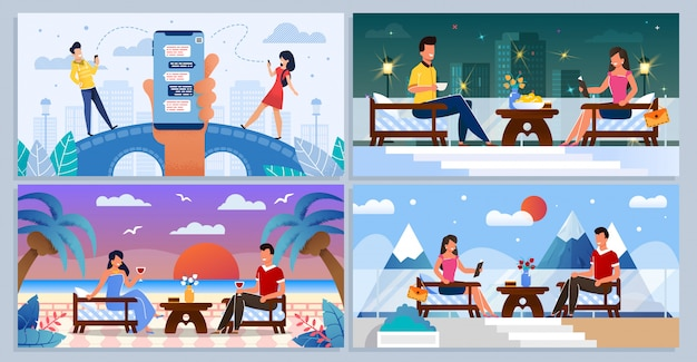 Онлайн знакомства, люди на романтической встрече
