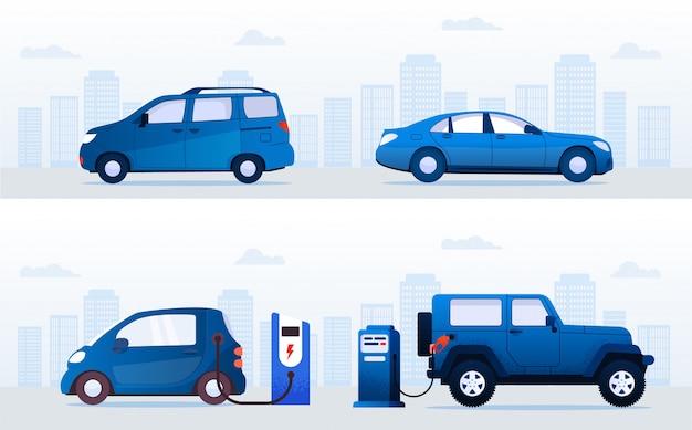ストリートセットの駅での電気自動車とガソリン車