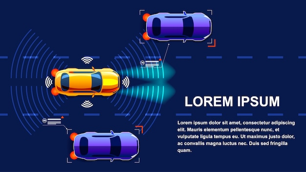 Автономный автомобиль иллюстрация