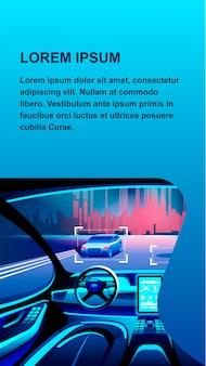 Искусственный интеллект автомобилей баннер иллюстрации.