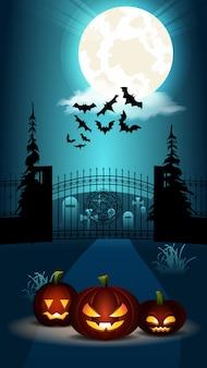 ハロウィーンフラットバナー。墓地の門でカボチャ