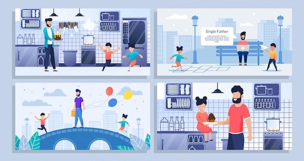 Набор иллюстраций о день отцов, отец-одиночка с детьми