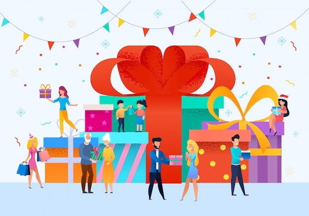 Празднование рождества и нового года векторный концепт