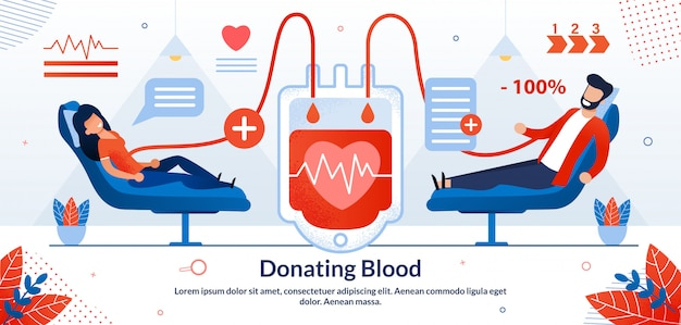 Сдавать кровь волонтеру векторная иллюстрация