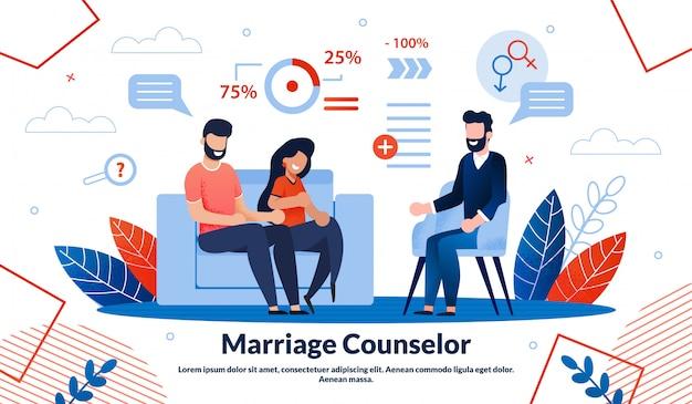 Семейный психолог плоский векторный баннер шаблон