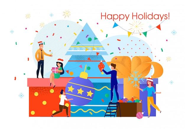 ビジネスチームのクリスマスのお祝い
