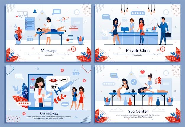 人の健康のための特別なサービスフラットイラストセット
