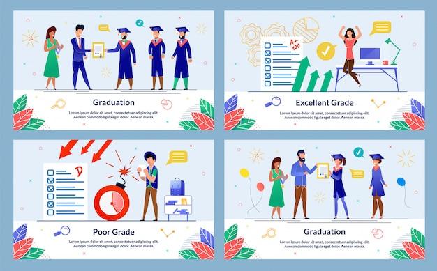 フラットスタイルのオンライン教育イラストセット