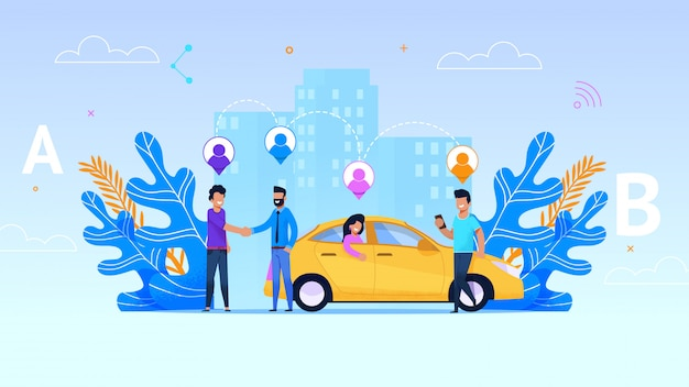 Иллюстрация службы обмена автомобиля. желтое такси.