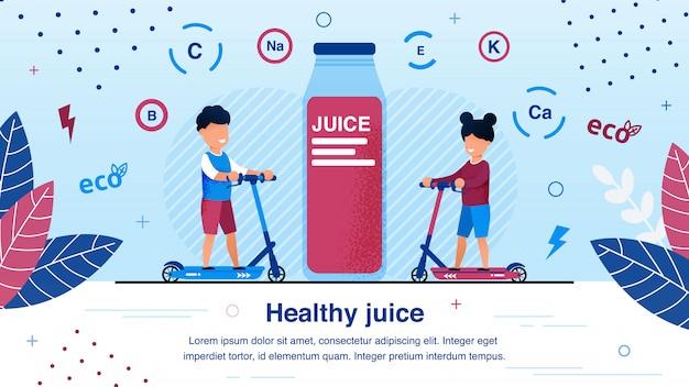 Органический сок для детей плоский векторный баннер