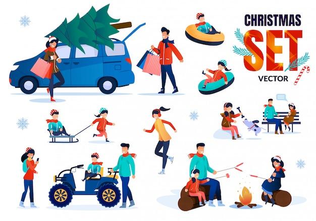 Семейные рождественские время плоских векторных символов набор