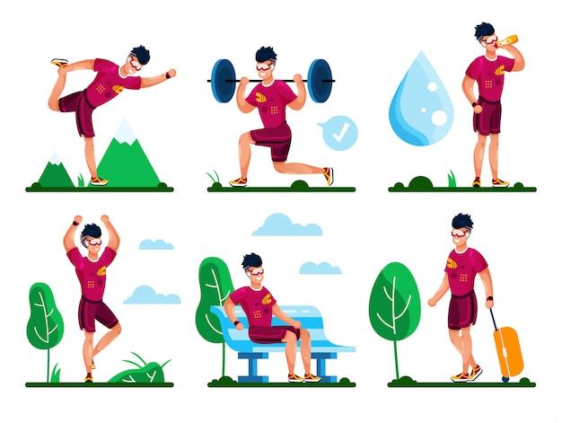 Мужской спортсмен, спортсмен деятельности плоский векторный набор
