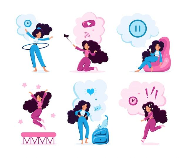 Набор символов для образа жизни молодой женщины