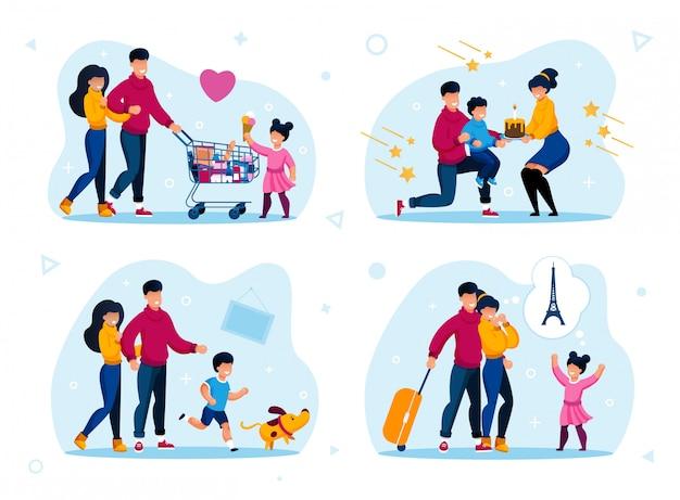 幸せな親子関係、子供時代のシーンフラットセット