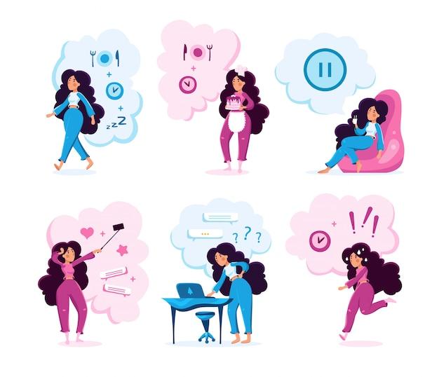 現代の女性の生活活動ベクトル文字セット