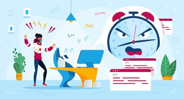 オフィス仕事トレンディなフラットコンセプトでのストレス