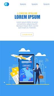 ビジネスマンが飛行機でオンラインチケットサービスを使用