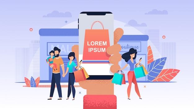 Онлайн магазин. женщины делают покупки в мобильном магазине.