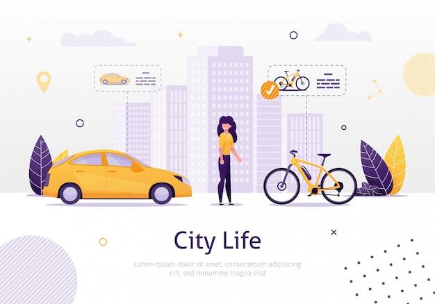 Женщина, предпочитающая вождение велосипеда для автомобиля баннер.