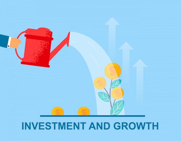 Вектор плоский баннер инвестиций и роста полива.