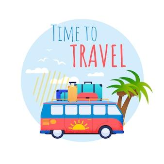 Время путешествовать на автобусе плоский рекламный баннер