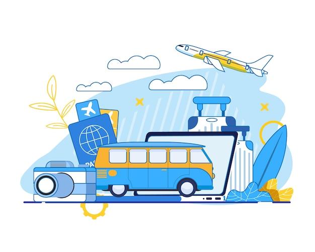 Летние путешествия и туризм реклама иллюстрация