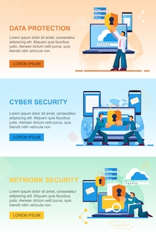 データ保護、サイバーセキュリティ、ネットワークセキュリティ。テンプレート