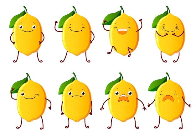 Набор нарезанных лимонных символов. симпатичные фруктовые векторные символы изолированы