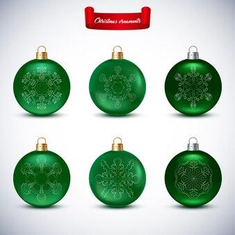 白地に緑のクリスマスボールのコレクション