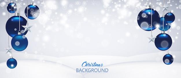 ブルークリスマスまたは新年の背景