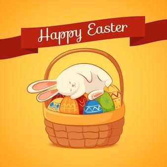 黄色の背景に眠っているイースターのウサギとカード