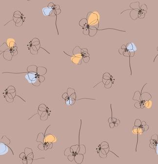 シームレスな自然の抽象的な花柄の背景。