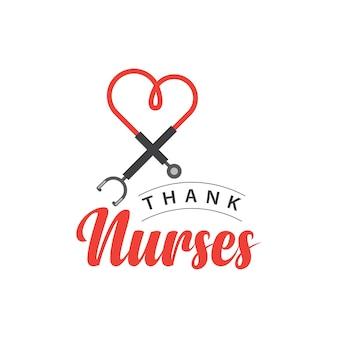 看護師ベクトルテンプレートデザインイラストに感謝