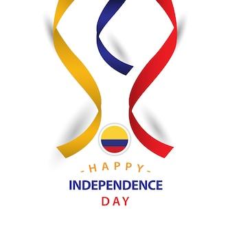 ハッピーコロンビアの独立した日ベクトルテンプレートデザイン