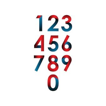 番号セットベクトルテンプレートデザインイラスト