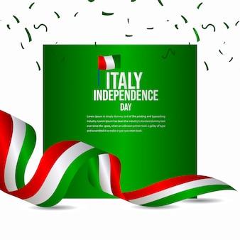ハッピーイタリア独立記念日のお祝いベクトルテンプレート