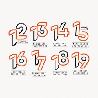 年周年記念お祝いテンプレートデザインイラスト