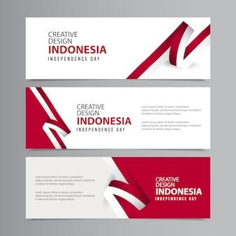 Счастливый день независимости индонезии празднование креативного шаблона