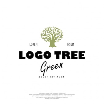 木のロゴのレトロなデザイン