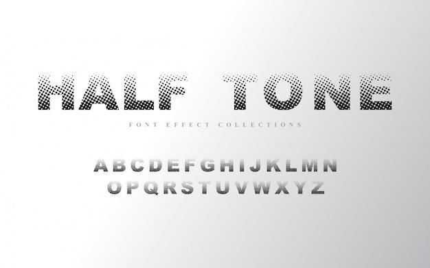 ハーフトーンアルファベットフォントテンプレート