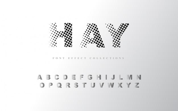 Шаблон полутонового алфавита шрифта