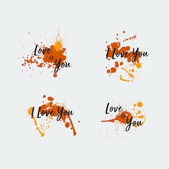 オレンジ色の絵画愛の背景